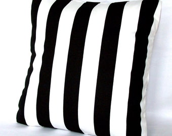 Black Striped Throw Pillow Cover - Black and White, 18x18 or 20x20 inch Decorative Cushion Cover - Canopy Stripes