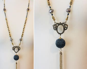 Art Nouveau Oxidized Brass Filigree Statement Tassel Pendant Necklace with Baroque Pearl, Shell Pearl & Crystal
