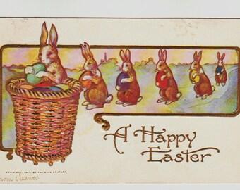Vintage Easter Postcard, Easter Bunnies Carrying Eggs to Easter Basket, 1908