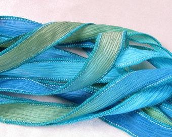 Silk Wrist Wrap, Ribbon, Hand Dyed Silk Ribbon, Wholesale Wrist Wrap Bracelet, Fairy Ribbon - Quintessence - South Pacific