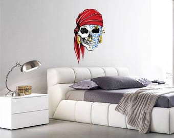 Wall Art sticker Full Colour Halloween Studded Pirate sugar Skull tattoo