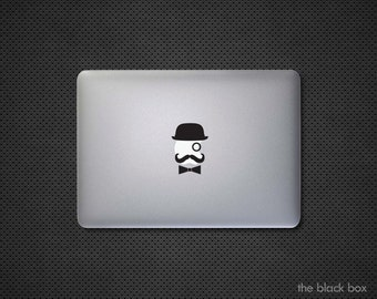 Monocle and Mustache Macbook decal - Macbook sticker