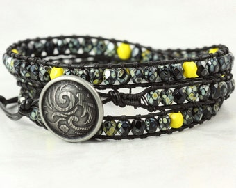 Black Wrap Bracelet Skinny Wrap Bracelet Black Leather Wrap Bracelet Boho Jewelry Bohemian Jewelry Yellow Bracelet Bold Fashion Speckled