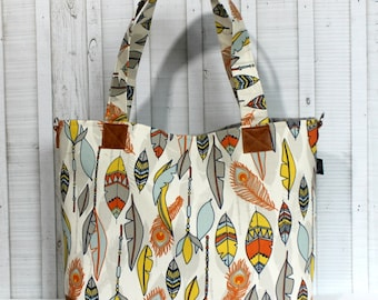 READY TO SHIP - Feathers in Orange and Navy with Vegan Leather - Tote Bag /  Diaper Bag -  Medium / Large Bag