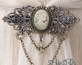 Steampunk hair clasp with gem
