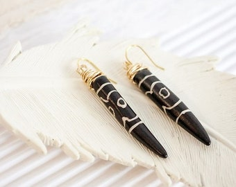 Black Tooth Earrings, Carved Bone Earrings, Dagger Earrings, Spike Earrings, Spear Earrings, Long Earrings, Boho Gift, Gift-for-Women