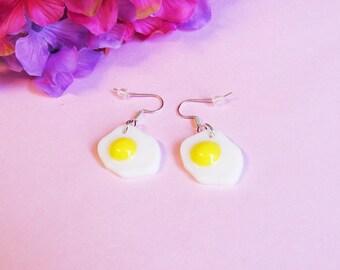 I Love Eggs Earrings - Dangling Sunny Side Up Egg Earrings