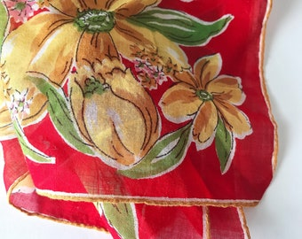 Vintage Red and Yellow Flower Handkerchief