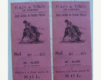 ONSALE 2 Antique Pink Beautiful Ephemera Bullring Signature  Numbered Ticket Vouchers