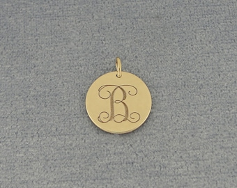 10K or 14K Solid White or Yellow Gold 1/2 Inch Tiny Round Disc Charm Pendant Necklace Deep Laser Engraved Monogram Initial GC05