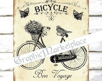 Bicycle Download Bon Voyage Good Trip Velo Bike Country Vintage Transfer digital collage sheet graphic printable No. 321