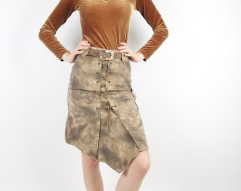 Brown Denim Acid Wash Skirt Belted Pocket Asymmetrical Military Style Jeans Skirt Small Size