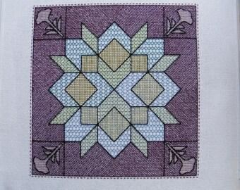 Pattern for Quilt Motif in Blackwork Back stitch