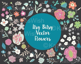 Vector Flower Clipart, floral clusters, bunches, for invites, digital scrapbooking, web design