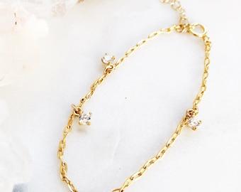 Kalahni Bracelet - Gold Charm Bracelet, Dainty Charm Bracelet, Link Bracelet, Link Chain Bracelet, CZ Charm Bracelet, Layering Bracelet Maui
