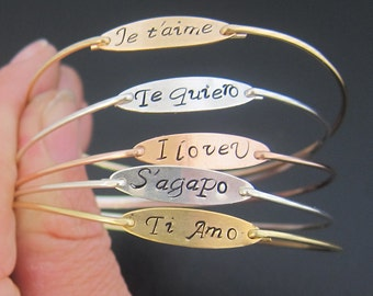 I Love You, Je t'aime, Te Quiero, Te Amo, French Gift, French Jewelry, Italy Gift, Italian Jewelry, German, French Bracelet, Spanish Jewelry