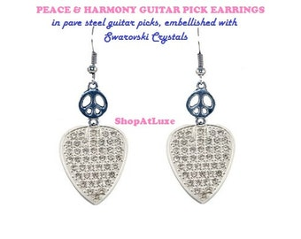 PEACE & HARMONY Guitar Pick Earrings OR Necklace With Ball Chain