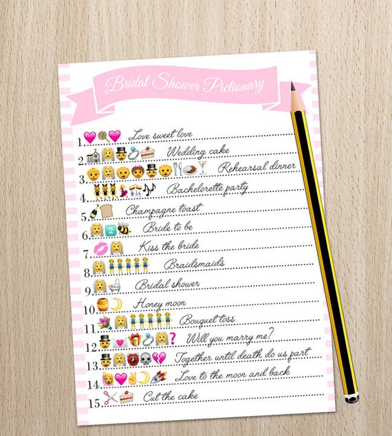 Bridal Shower Game Wedding Emoji Pictionary Printable