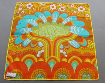 Flower Power - Vintage Swiss Fisba Stoffels Cotton Hankie Handkerchief
