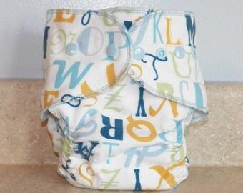 Fitted Medium Cloth Diaper- 10 to 20 lbs- Blue Alphabet- 18011