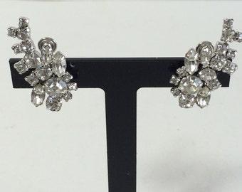 Vintage Rhodium Plated Clear Rhinestone Climber Earrings Bridal Wedding
