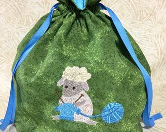 Knitting Project Bag - Large - Knitting Sheep