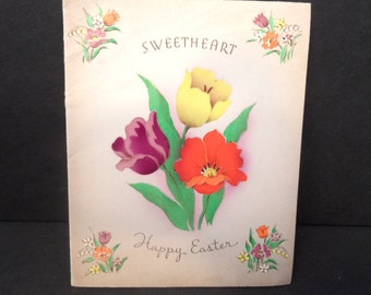 Sweetheart Easter Greeting Card / unused, vintage Norcross with tulips