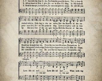 Love Lifted Me Hymn Print - Sheet Music Art - Hymn Art - Hymnal Sheet - Home Decor - Music Sheet - Print - #HYMN-P-008