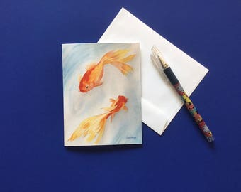 Goldfish Watercolor Print Note Card with white envelope.
