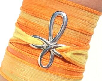 Summer Cross Silk Wrap Bracelet Yoga Jewelry Orange Yellow Spiritual Bohemian Unique Gift For Her Birthday Under 30 Item V24