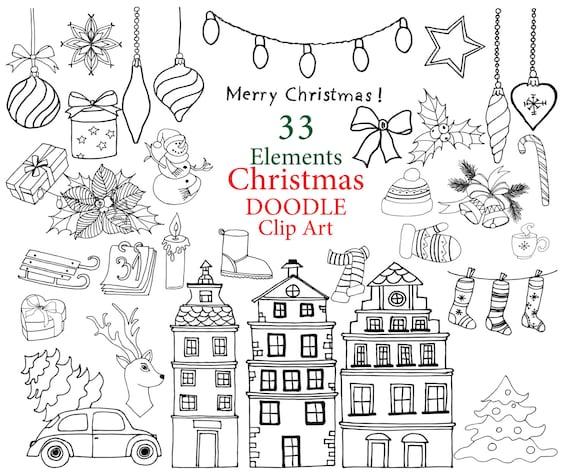 christmas doodle clipart christmas clip art rh etsy com Heart Doodle Clip Art KPM Doodles Clip Art