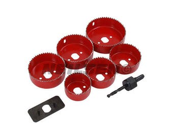 9PC Holesaw Hole Cutter Set, Sizes 50mm, 60mm, 65mm, 72mm, 75mm & 86mm, Builder Electrician Down Light Hole Cutter CT0900