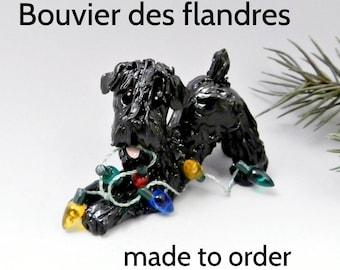 Bouvier des Flanders Dog Porcelain Christmas Ornament Figurine Made to Order