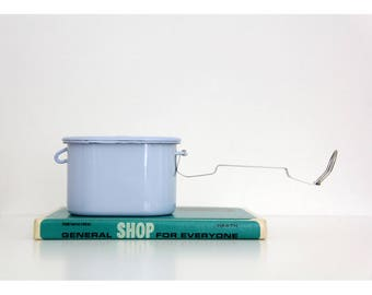 Vintage enamel container // Austrian RIESSWERKE powder blue enameled container with a lid