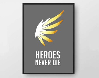 Overwatch Mercy- Digital Download Wing Poster/Desktop Background