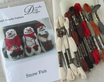 Punch Needle KIT ~ Snowman ~ Winter punch needle ~ snowman punch needle ~ PunchNeedle pattern - Folk Art - needle punch kit - primitive