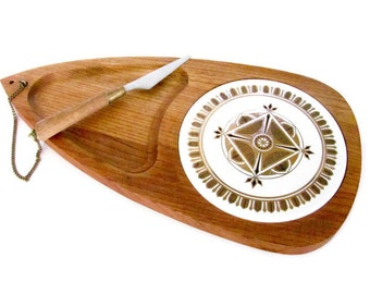 Vintage Wood Cheese Board, 1960's L & M Serving Tray, Mid Century Modern, Kitchen Decor