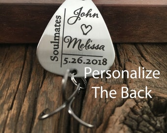 Soulmates Fishing Lure Gift Personalized Name And Date Wedding Gift Anniversary Fishing Lure Gift for Engagement Lure Gift For Fisherman
