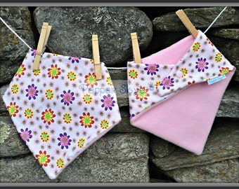 Colorful Flowers on White Bandanna Baby Bib