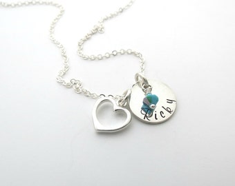 Personalized Name Necklace - Birthstone Jewelry - Heart Charm - Mothers Necklace - Personalized Jewelry - Grandma - Son - Daughter - Family