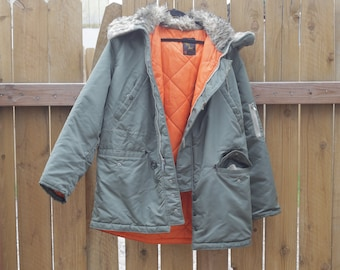 Vintage Sir Jac Army Green Puffy Quilted Winter Jacket With Wool Trim Size 46