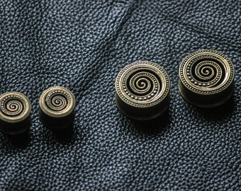 Spiral Bronze Ear Plugs - Festivals - gypsy - rave party - steampunk style
