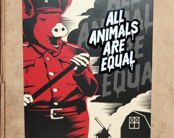 "Animal Farm Enamel Pin 1.5"" on backing card - george orwell - all animals are equal"