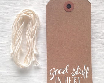 good stuff in here kraft gift tags with white foil