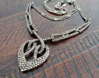 Vintage 1930's Art Deco Sterling Silver and Marcasite Necklace