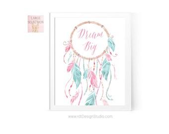 Dream Catcher Print, Nursery Wall Art, Nursery Wall Decor, Wall Art Print, Girl Room Decor, Baby Shower Gift, Birthday Gift, Cadre, D29-1