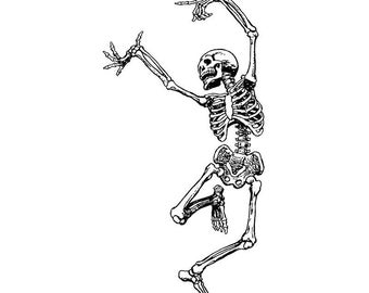 DANCING SKELETON- CLiNG RuBBer STaMP by Cherry Pie R560