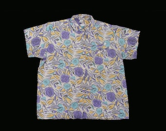 Vintage 90's Button Up - Abstract Oxfords - Painterly - Floral - Short Sleeve - Collar - XL / XXL - Plus - Ready To Wear