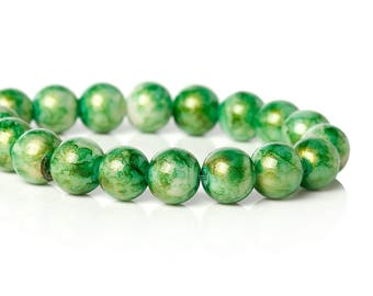 Green Glass Beads Gold Glitter Bead 10mm Large Spacer Bead Green White with Gold Swirl Glitter Shiny 20/50  3889