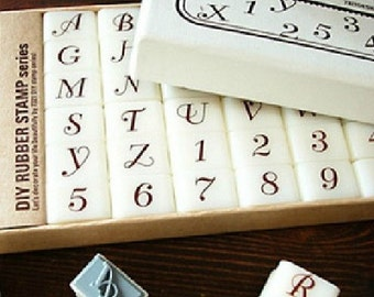 DIY Rubber Stamp Set - Alphabet Stamps - Bellevue - Upper Case Letters - 36 pcs
